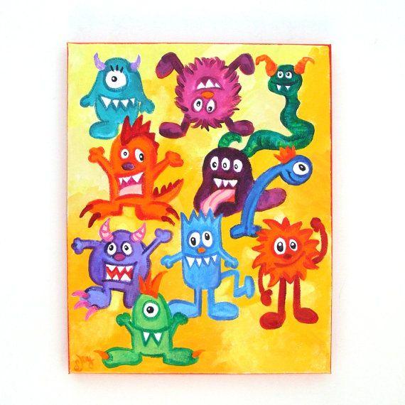 Art for Kids MONSTER MASH 11x14 acrylic painting by nJoyArt  #art #nursery #kids rooms: Acrylic Canvas, Acrylic Paintings, Acrylics, Nursery Kids, Monsters, 11X14 Acrylic, Kids Rooms, Art For Kids