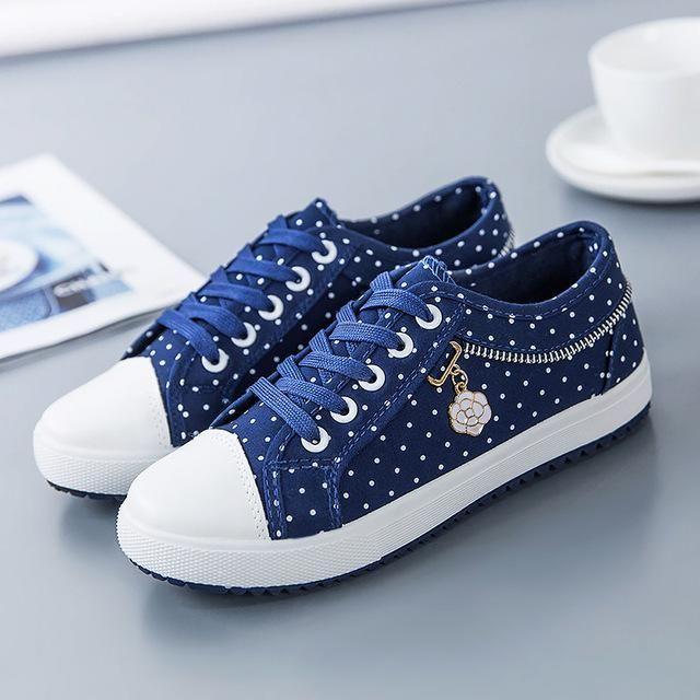 127e028ffa14 Breathable Canvas Polka Dot Sneakers