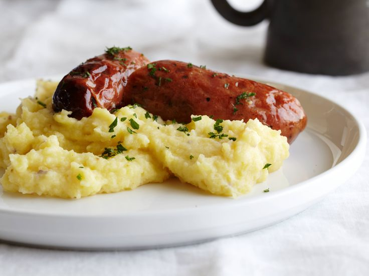 Bangers and mash, Barefoot Contessa. Seriously delicious. First time I had ever cooked with creme fraiche, and now that I've stocked up on the mustards, I can easily make this again.