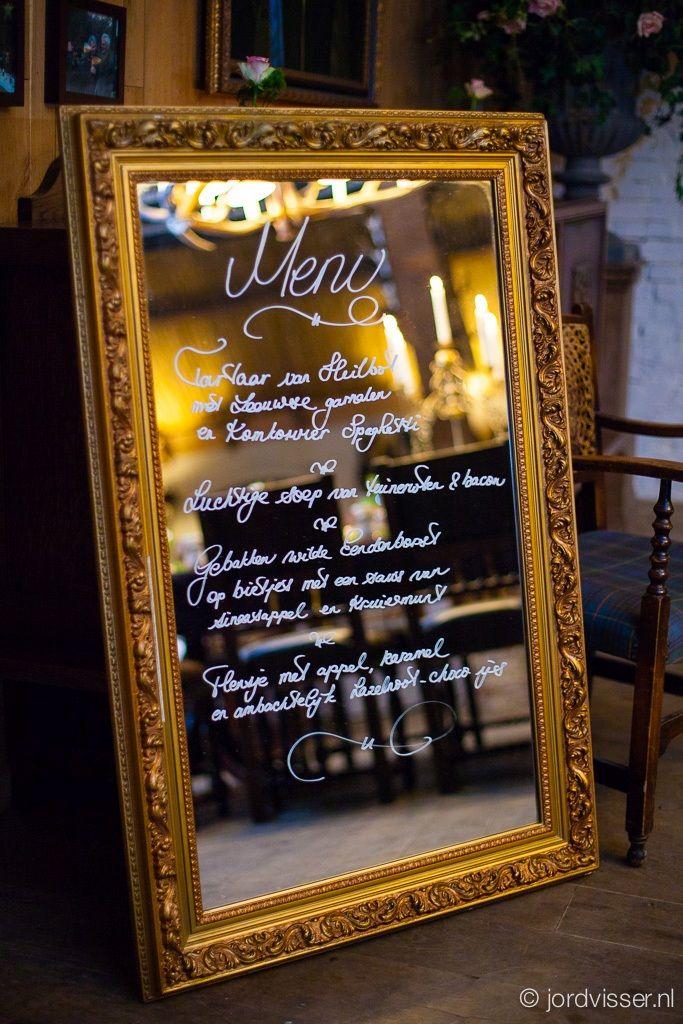 menu on large mirror autumn/winter wedding