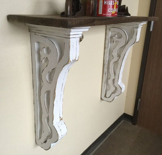 Green Shelves Canisters Diy Island Wood Nailed To: Antique Style Corbel,Large Corbels With Shelf, Hallway