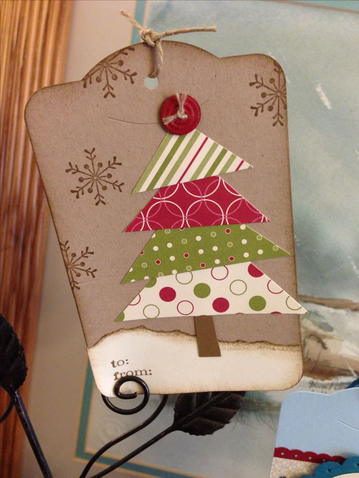 Christmas tree from scraps. stamp some snowflakes on bkgrd