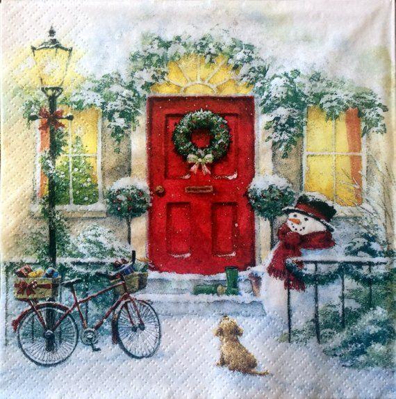 Bike in snow Winter Xmas,dog design -X162 4 Single paper decoupage napkins