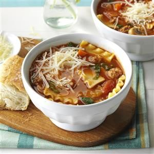 Slow Cooker Lasagna Soup Recipe -Every fall and winter, our staff has a soup rotation. I have modified this recipe so I can prep it the night before and put it in the slow cooker in the morning. My colleagues love it! —Sharon Gerst, North Liberty, Iowa