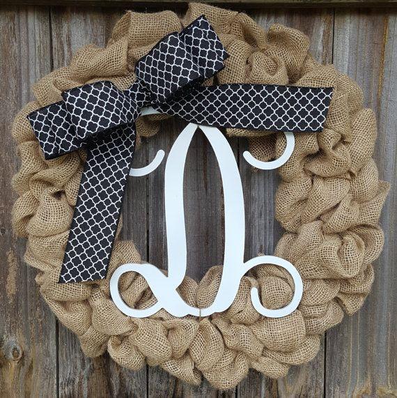 Wreath with Monogram Monogram Wreath Burlap Initial Wreath