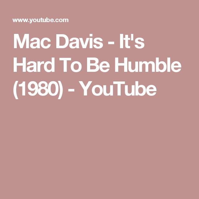 Mac Davis - It's Hard To Be Humble (1980) - YouTube