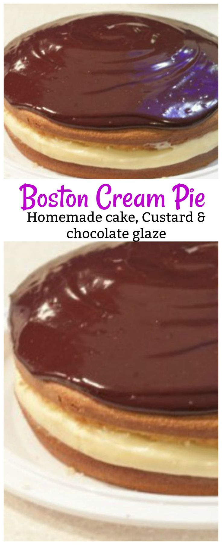 This Boston cream pie is the BEST one you will ever eat and make! With homemade vanilla custard in the middle and a chocolate glaze on top this will be your go to cake for special occasions! Boston cream Pie made with homemade cake, homemade vanilla custard and homemade chocolate glaze will sure to be added to your recipe box for when you need an amazing dessert recipe.