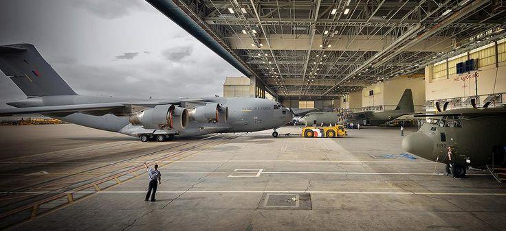 C-17 in hangar at Brize