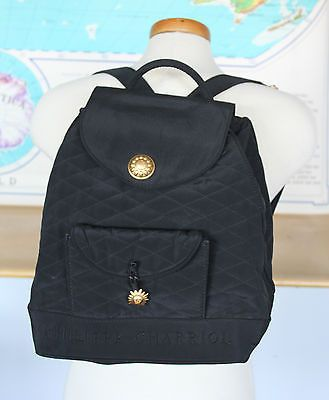 110.28$  Buy now - http://visun.justgood.pw/vig/item.php?t=93lawb93637 - Philippe Charriol Vintage Black Quilted Mini Backpack Bag Gold Sun Logo Italy 110.28$