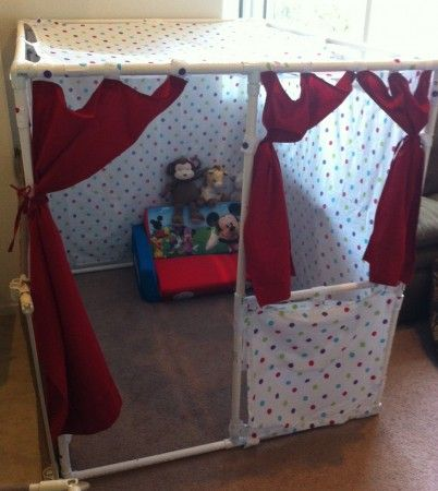YAY.. we did this! Play house or Fort made out of PVC pipe and Fabric! Do-It-Yourself: Kid's Playhouse | OC Family Blogs