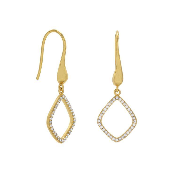 18 Karat Gold Plated Signity CZ Kite Design Drop Earrings