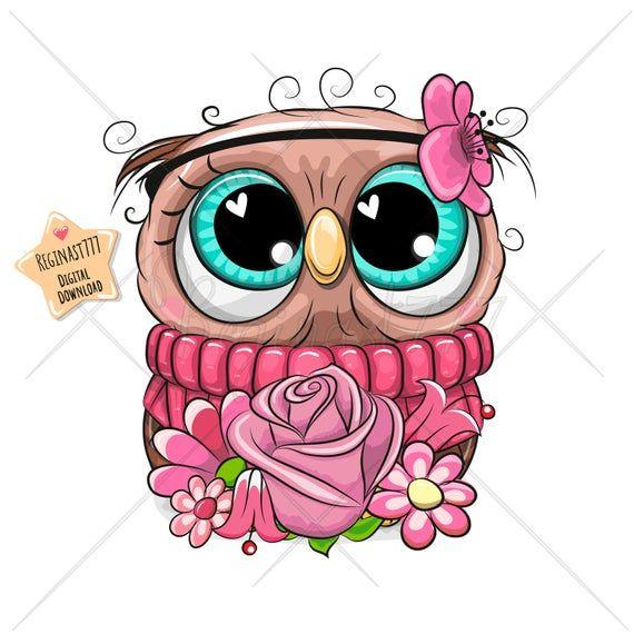 Cute Owl Png Digital Download Owl Clipart Adorable Etsy Cute Owl Cartoon Owl Cartoon Owls Drawing
