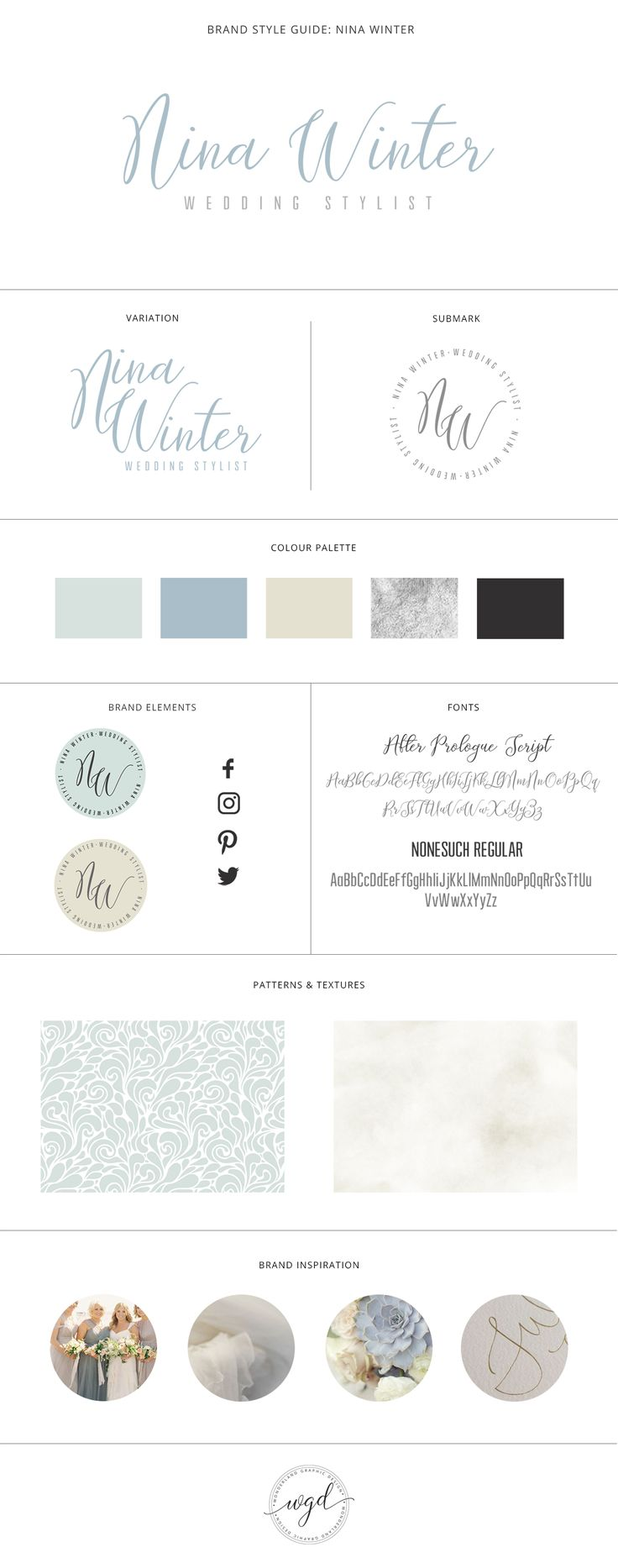Brand Style Board for Nina Winter | This wedding styling business got a great rebrand with a beautiful dusty, dusky blue and soft grey and cream colour palette. The logo with simple and clean with creative alternatives. If you require branding services for your wedding business, click through to find out more. Wonderland Graphic Design - Styling your way to a better business!