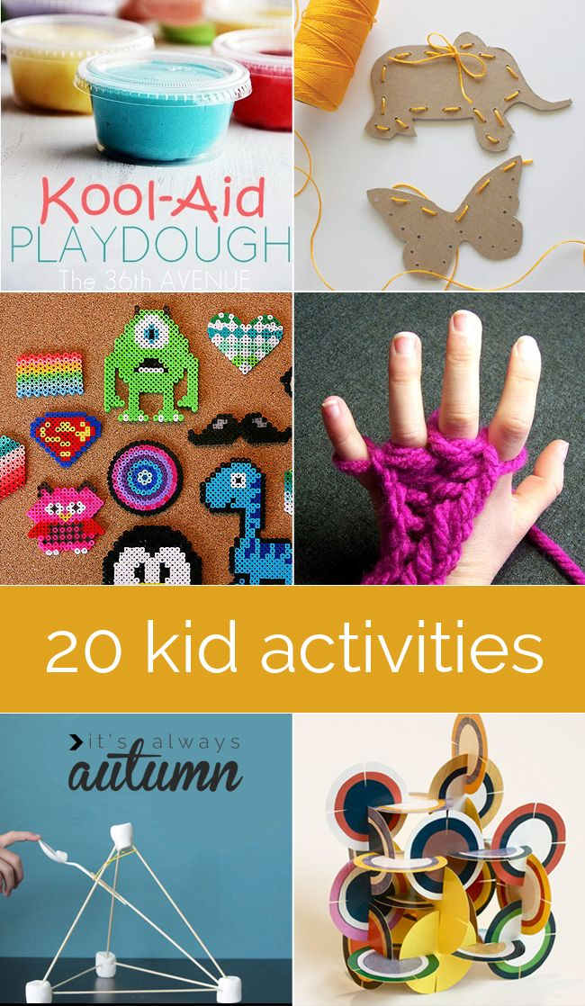 tired of the kids being stuck inside because of the cold and rain? Here are 20 fun activities and simple activities to keep them busy - the very best #kids' #crafts and #activities from blogland!