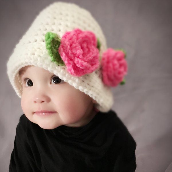 Cloche Hat White with Pink Rose