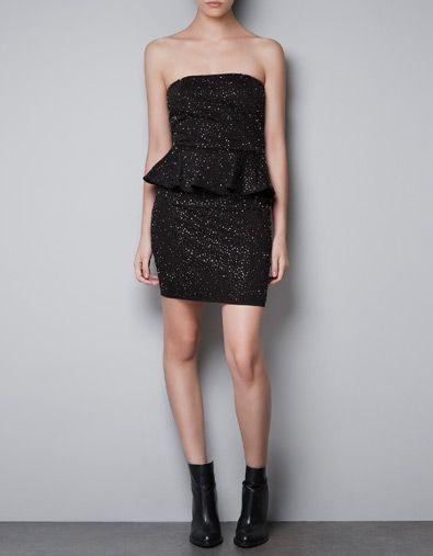 Zara BEADED PEPLUM DRESS
