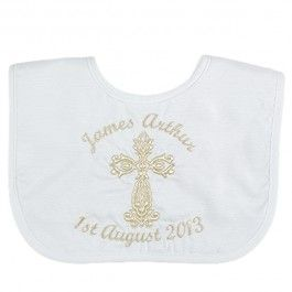 A beautiful keep-sake - personalised Christening bib made from high quality Dupion silk.