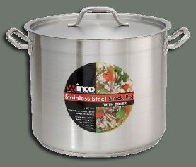 Winco Premium Stainless Steel Stock Pot with Cover, 40 Quart