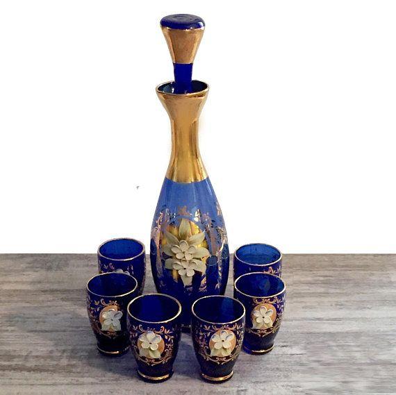 Vintage Bohemian Glass Decanter Set 6 Cordial Glasses Cobalt Etsy Glass Decanter Set Glass Decanter Bohemian Glass
