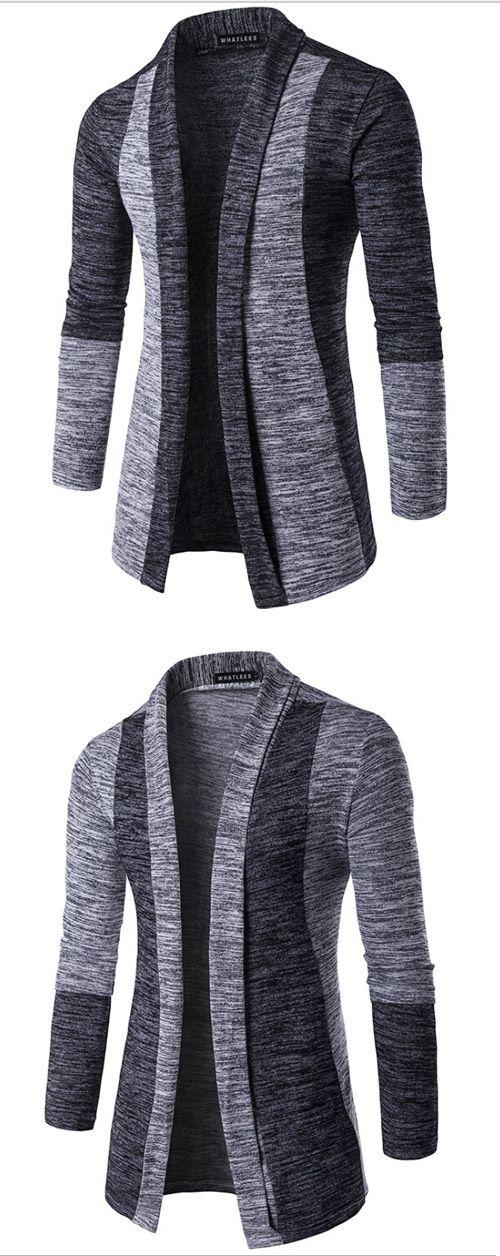 Men's Going out Street chic Regular Cardigan,Color Block V Neck Long Sleeves Cotton Spring Winter Medium Micro-elastic Cardigan