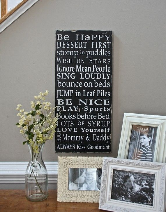 Family Rules Sign by the Kids Typography Word by barnowlprimitives, $95.00