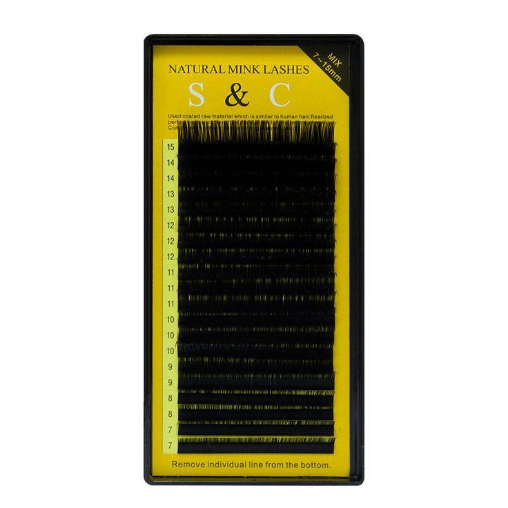 S & C Tutto il formato, 1 caso, 7 ~ 15mm MIX, 20 sheets/vassoio, visone estensione ciglia, ciglia finte, ciglia Individuali