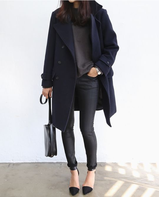 Death by Elocution - super cool look - dark navy, charcoal and black combined (cant see which is which but I love it)  - look at the rolled skinny  jeans detail with the ankle strap shoes.