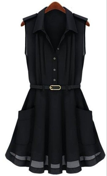 Black Sleeveless Pleated Flare Belted Shirt Dress
