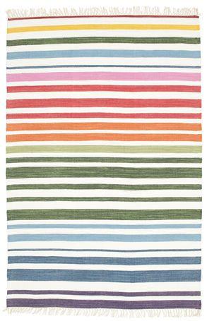 Rainbow Stripe - Vit matta 140x200