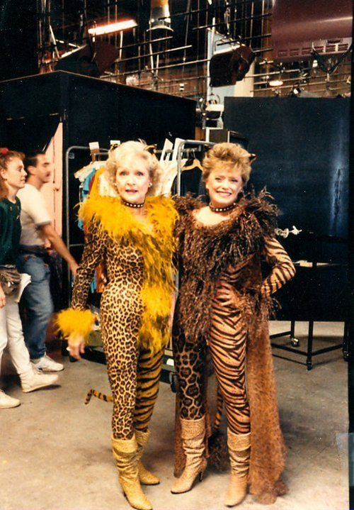 Betty White and Rue McClanahan in costume, behind the scenes of The Golden Girls