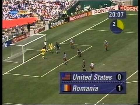 USA 0 Romania 1 in 1994 in Pasadena. Dan Petrescu got a goal on 20 minutes and its 1-0 to Romania in Group A #WorldCupFinals