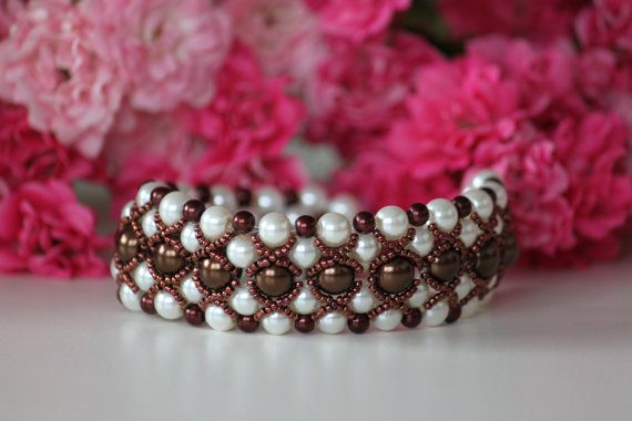 Beaded wedding bracelet. Shiny brown and by DeaJewelryStore