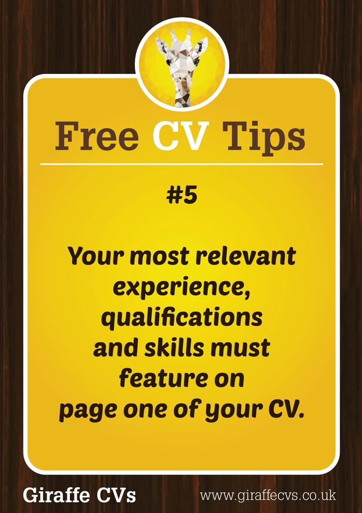 69 best Free CV Tips by Giraffe CVs images on Pinterest Cv tips - resume hints