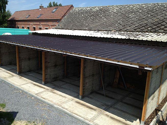 Realisaties van houten constructies - bouwmateriaal Van Leeuwen België steenschot carport