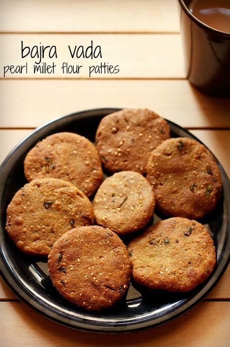 gujarati bajra vada recipe - crisp and soft patties made from pearl millet flour.  #bajra #vada
