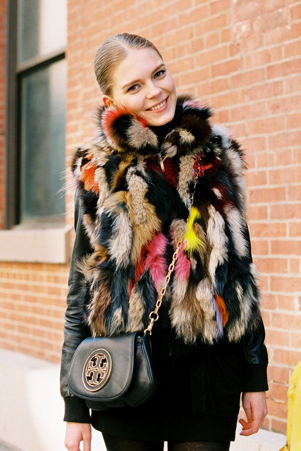 multi-colour fur vest