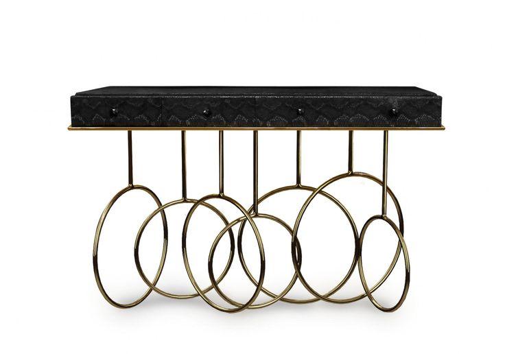 J. Emmanuel Burlesque Console  #Console #luxury #table #modern #furniture #design #black #crystal #Gold