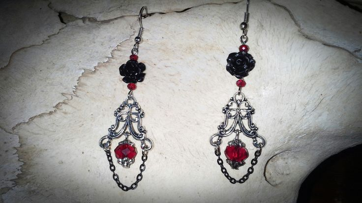 Made by Grievious- Gothic Victorian Black Coral Rose Dangle Earrings with Red Crystal Glass Beads
