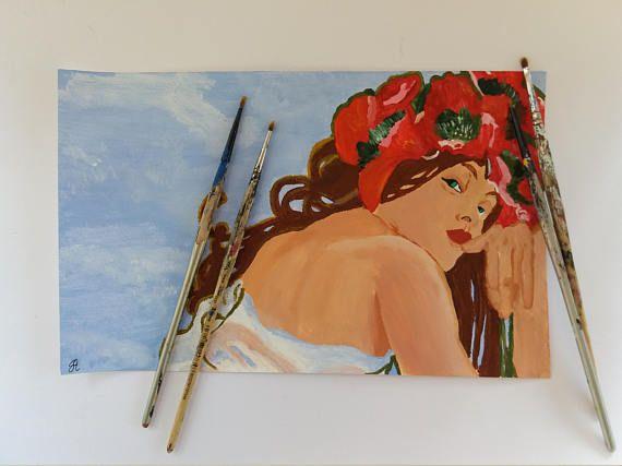 Dipinto acrilici e acquerelli su carta Riproduzione di un