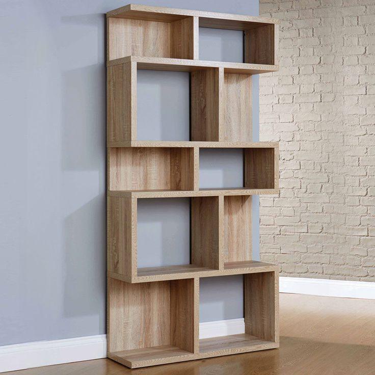 Pembroke display unit bookcase 5 shelves wood oak veneer - Modern bookshelf wall unit ...