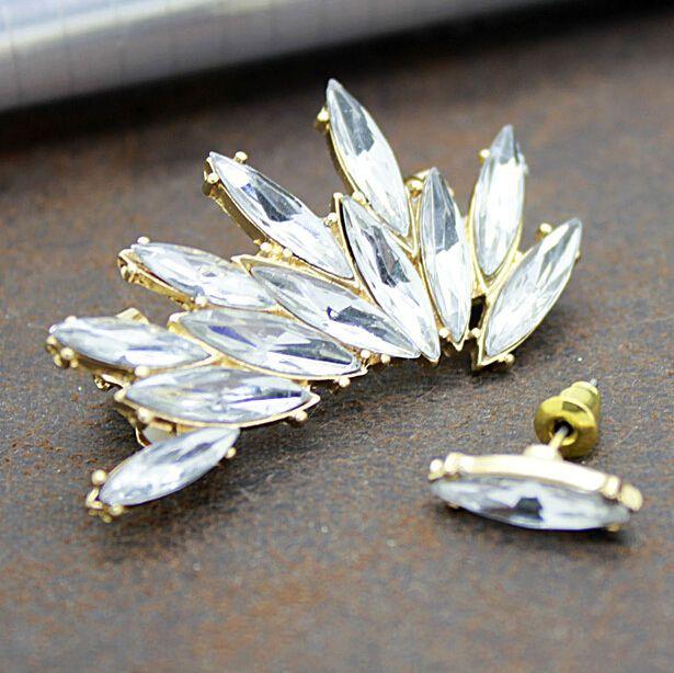 New Fashion Earring Stud Shape Rhinestone Right Ear Cuff Clip  Gem Cubic Zircon Stud Earrings For Women Accessories