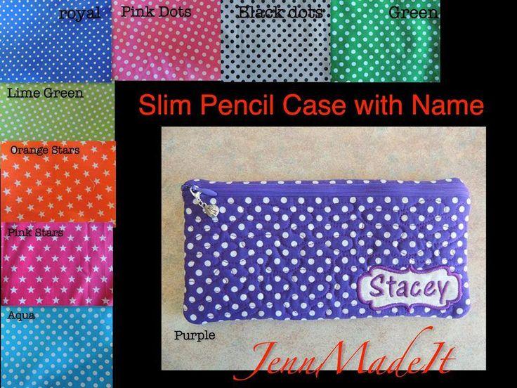 Handmade by Jenni @ JennMadeIt Slim Pencil Case with name