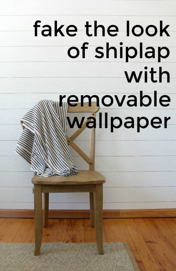 Make A Faux Shiplap Wall With Peel And Stick Shiplap Wallpaper Faux Shiplap Shiplap Wall Diy Ship Lap Walls