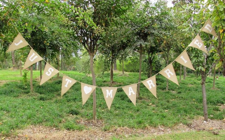 'Just Married' Rustic Burlap Bunting