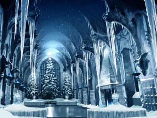The Great Hall decorated in ice and snow for the Yule Ball