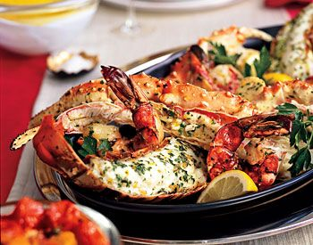 Platter of roasted shellfish Serve with lime butter sauce          Platter of Roasted Shellfish with Trio of Sauces Recipe  at Epicurious.com