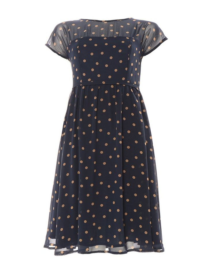 AMANDA LAIRD CHERRY | Chiffon Polka Dot Dress - - Style36