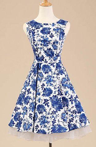 Blue and White Floral Vintage Dress