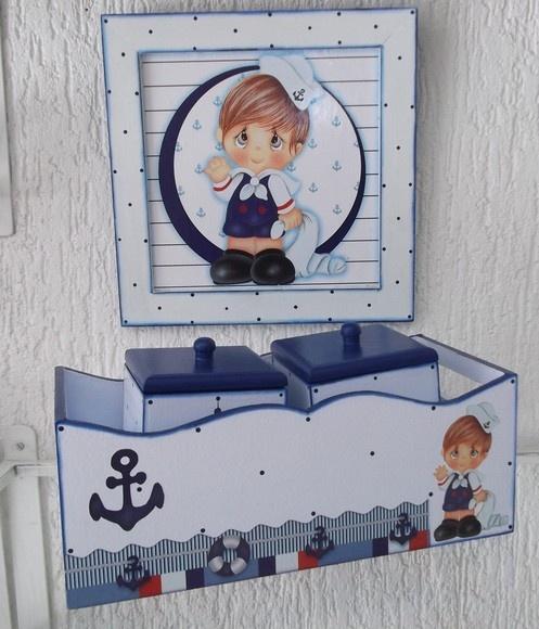 Lindo kit de Bebê em mdf para menino, marinheiro, ficou muito bonito... R$80,00