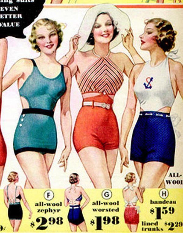 illustrazione costumi da bagno anni 30